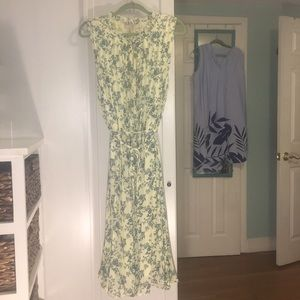 LOFT size 18 yellow floral midi dress